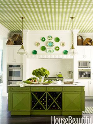 """Kitchen, designer Gideon Mendelson created a green gingham ceiling that was first painted on canvas by Silvère Boureau. Mendelson says, """"It gives a classic white kitchen personality, and it brings extremely high ceilings down to a more comfortable place."""""""