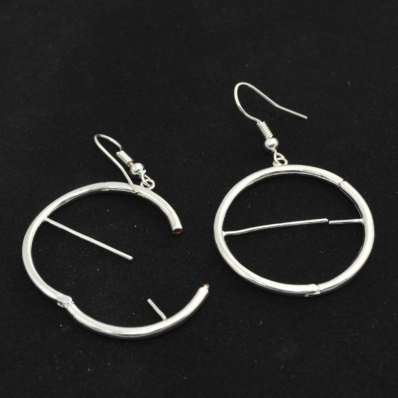 23641005-00 Findings - Earring - Interchangeable -  Circle - Silver (Pair)