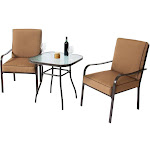 Best Choice Products 3-Piece Outdoor Patio Bistro Set with Glass Top Table, Brown