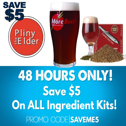 Save $5 Per Beer Kit and Free Shipping on orders over $59 with this MoreBeer.com Coupon Code