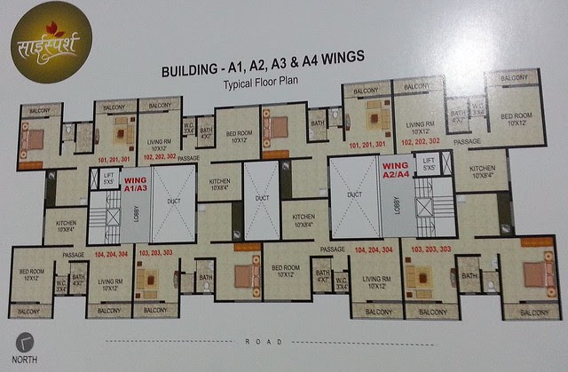 Floor Plan of Jalan Group's Sai Sparsh, 1 BHK Flats & Shops at Kapurhol on Pune Bangalore Highway