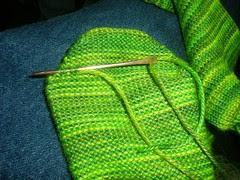 sock toe, weave in end, 3
