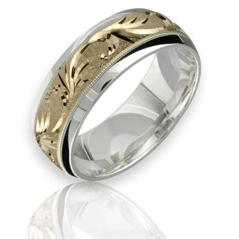 10K Yellow Gold Wedding Ring .925 Sterling Silver 8mm Wide