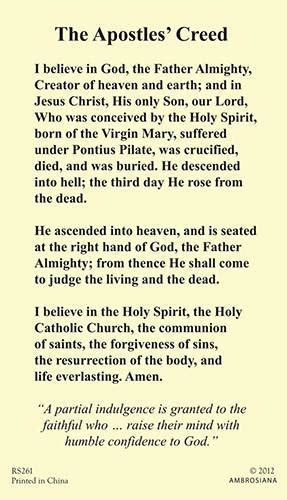 The Apostles' Creed Laminate Holy Card ? Little Flower