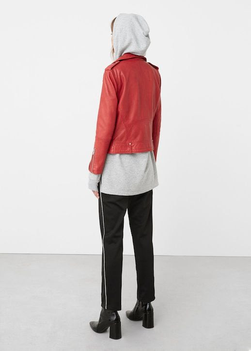 Le Fashion Blog Red Leather Jacket Layered Over A Long Grey Hoodie Black Side Stripe Pants Patent Leather Chunky Heeled Boots Via Mango
