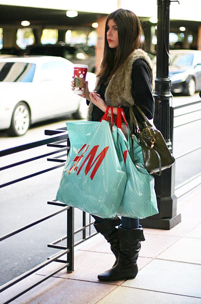 Fur vest, J Brand Skinny Jeans, Gucci boots, Gossip girl, Starbucks, Fashion outfit