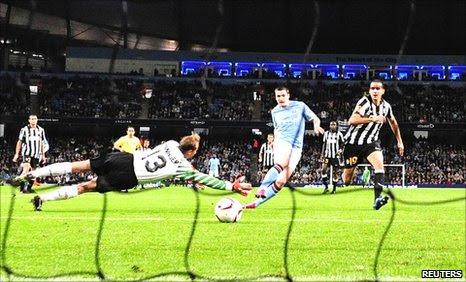 Adam Johnson scores Manchester City's equaliser against Juventus