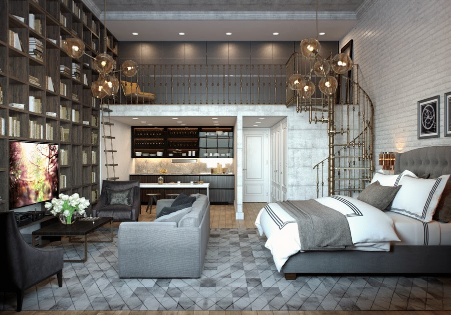 0 loft studio apartment with mezzanine brown floor to ceiling home library gray furniture upholstered double bed TV zone sofa arm chairs recessed kitchen winding staircase white brick wall
