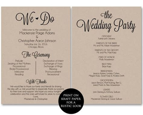 Ceremony Program Template Wedding Program Printable We Do