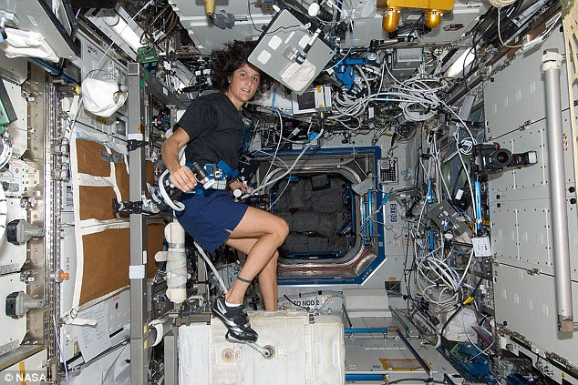Currently, astronauts must keep their bodies in shape on the ISS by performing regular exercise. Pictured is Nasa astronaut Sunita Williams, Expedition 32 flight engineer, exercising on the Cycle Ergometer with Vibration Isolation System (Cevis) in the Destiny laboratory of the ISS on 20 July 2012
