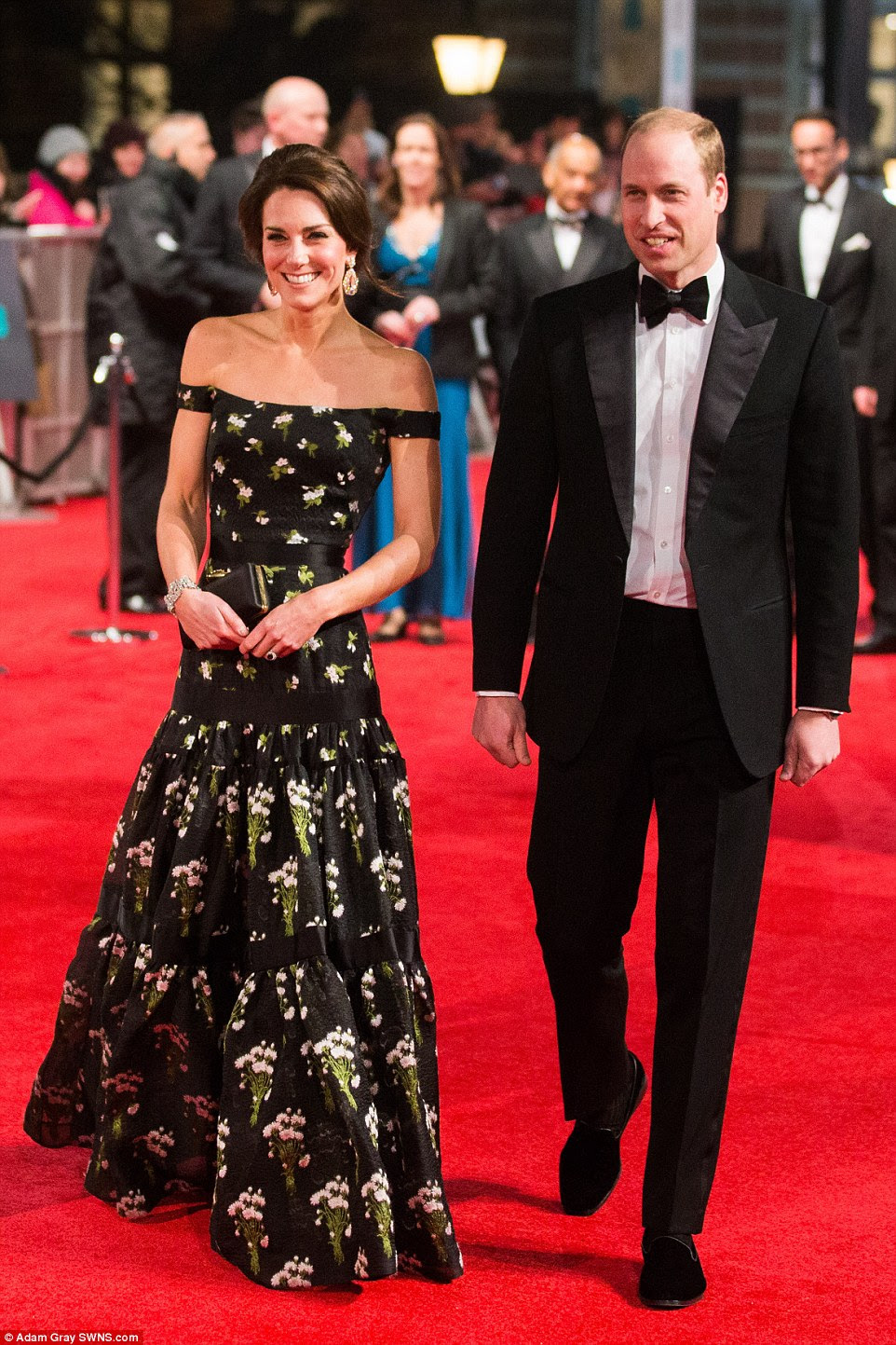 Last to arrive: The Duke and Duchess of Cambridge were the special guests of Sunday night's BAFTA awards at the Royal Albert Hall in London