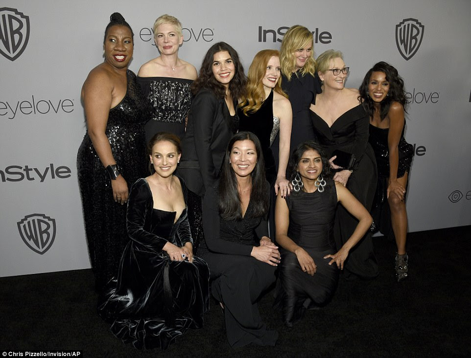 Girl power: Tarana Burke, top row from left, Michelle Williams, America Ferrera, Jessica Chastain, Amy Poehler, Meryl Streep, Kerry Washington, and bottom row from left, Natalie Portman, Ai-jen Poo, and Saru Jayaraman