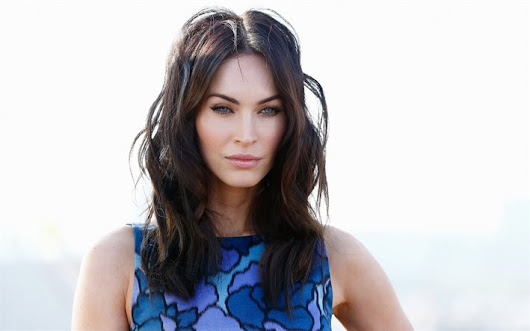 Download wallpapers Megan Fox, portrait, beautiful eyes, American actress, blue dress, brunette, beautiful woman for desktop free. Pictures for desktop free