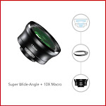 Super 110° + Macro Lens Wide Angle Lens Kit with Clip for Smartphone, iPhone. 2 in 1 Lens. Premium Quality Camera Lens for Smartphone. Macro Lens