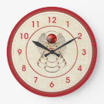 Merry Christmas Metallic Angel Red and Gold Wallclock