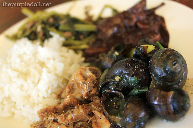 My plate of kuhol lechon paksiw dinuguan and kangkong