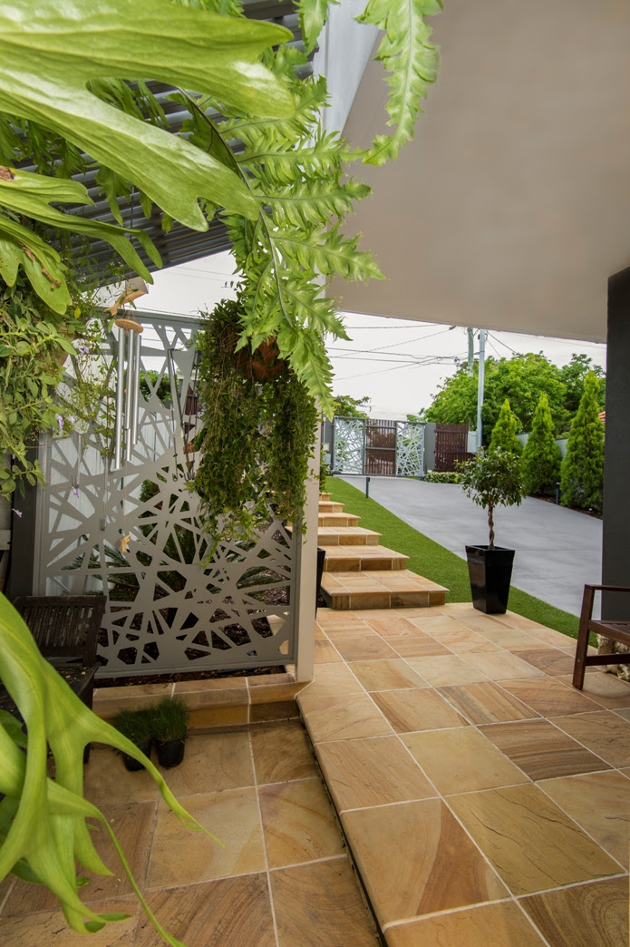 Modern Architectural new home brisbane fernhouse to front entrance patio designer feature driveway gate
