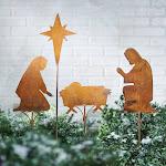 Art & Artifact Nativity Scene Garden Stakes - 4 Piece Set Vintage Style Metal Christmas Lawn Yard Ornament Decoration