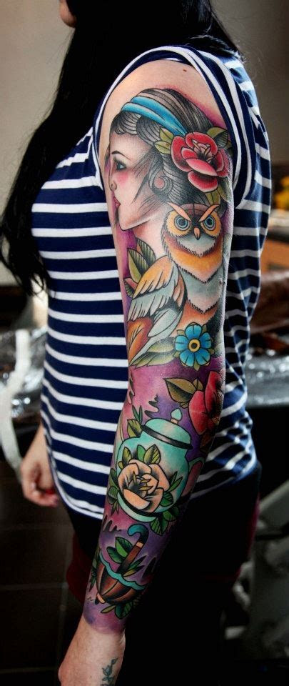 nice girls sleeve tattoo tattoo design ideas
