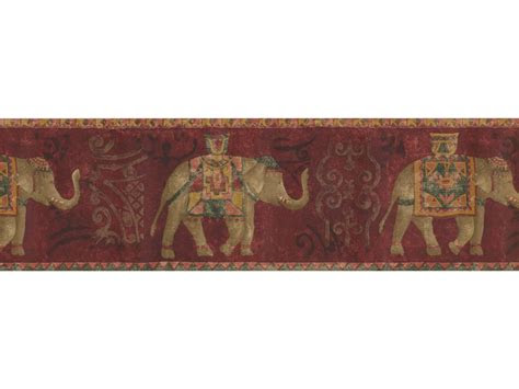 vintage wallpaper borders gold red traditional elephant