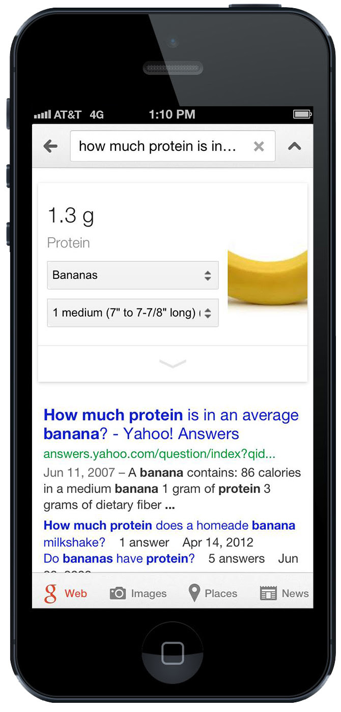 Google nutritional information (banana protein)