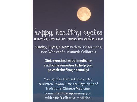 Happy, healthy cycles workshop on Sunday 7/19 from 4-6pm