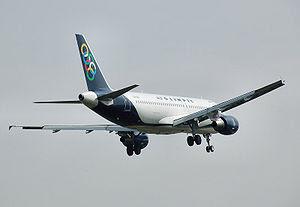 Airbus A320-200 landing at London Heathrow Air...