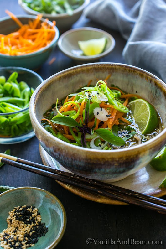 Ginger Miso Soba Noodle Bowls with Wakame - Vanilla And Bean