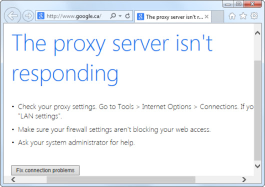 How to get rid of 'The proxy server is not responding'