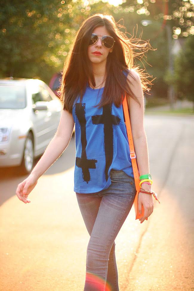 Cambridge Satchel Neon Flourescent bag, James Jeans Twiggy Karma, Friendship bracelets, Aviator Sunglasses, Fashion Outfit