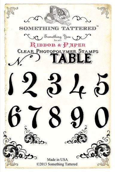 Etwas ramponiert Tischnummern Clear Stamp Set