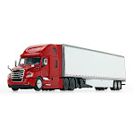 DCP DCP60-0745 Freightliner 2018 Cascadia High-Roof Sleeper in Red With 53 ft. Utility Trailer With Side Skirts