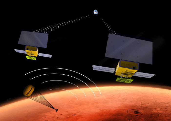 An artist's concept of the MarCO Cubesats relaying data to Earth while the InSight lander approaches the surface of Mars.