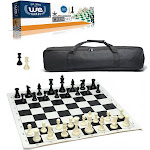 Complete Tournament Chess Set – Plastic Chess Pieces with Roll-up Chess Board and Travel Canvas Bag