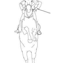 Dibujos Para Colorear Un Caballo Listo Para Saltar Con Jinete Es