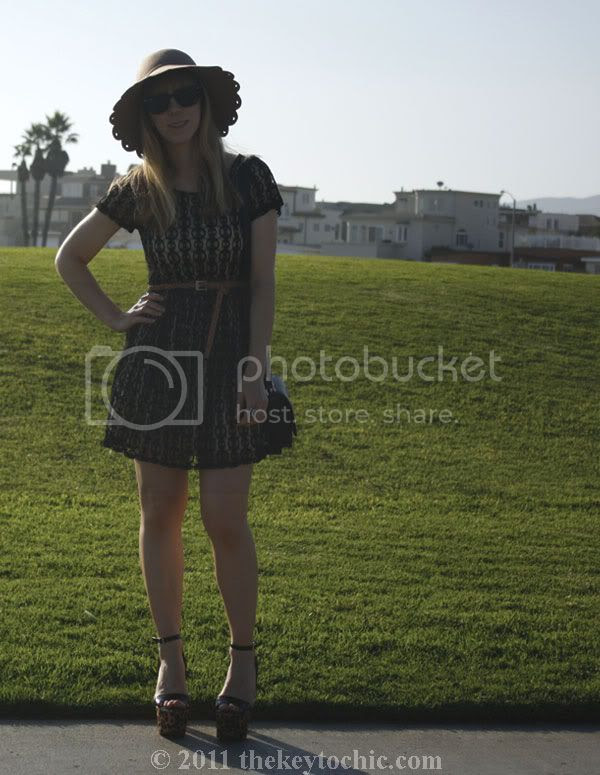 Forever 21 lace dress, Steve Madden Shazzam leopard heels, scalloped floppy hat, California fashion blog