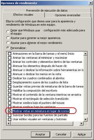 Mostrar vistas en miniaturas en Windows 7