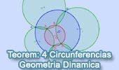 Teorema de las Cuatro Circunferencias con Geometría Dinámica: TracenPoche, Cuadrilatero Inscriptible, Puntos Cociclicos.