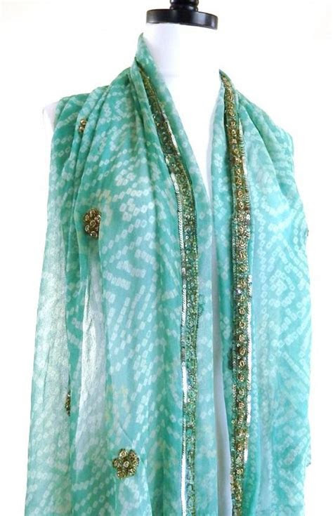 Aqua Silk Scarf, Tie Dye Scarf, Blue Bandana, Indian Silk