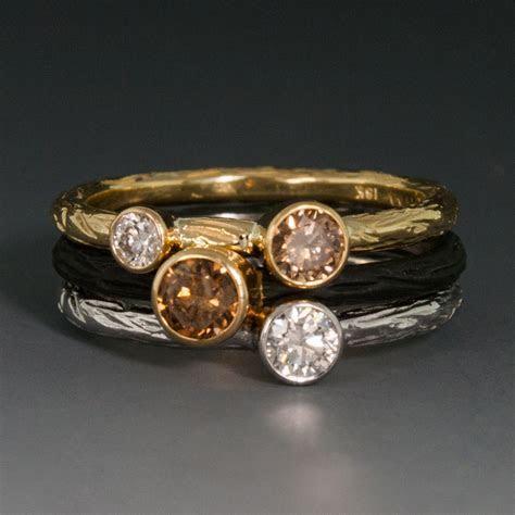 Cobalt Chrome Pebble Stacking Ring w/Cognac Diamond