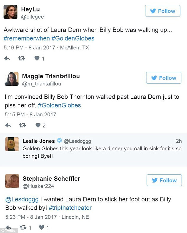 Twit: Billy Bob was thoroughly mocked by viewers commenting on social media