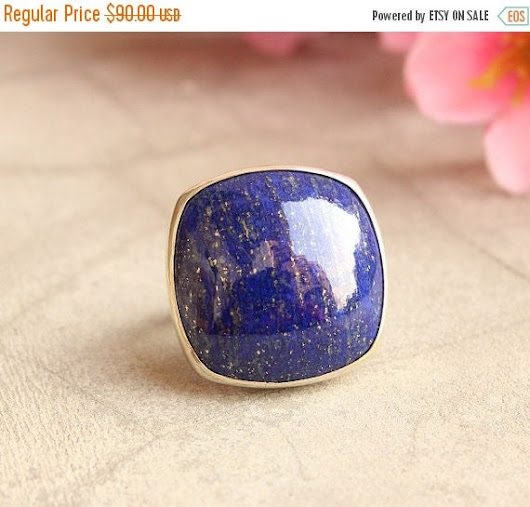 OOAK Statement Lapis Lazuli ring  Square  cushion by Studio1980