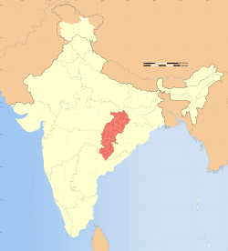 Location of Chhattisgarh (marked in red) in India