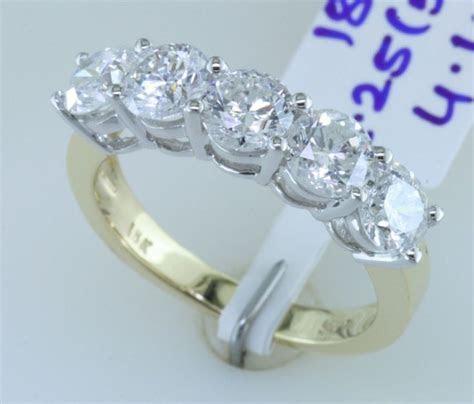 2.25 Carat SI 5 Stone Diamond Wedding Band Anniversary