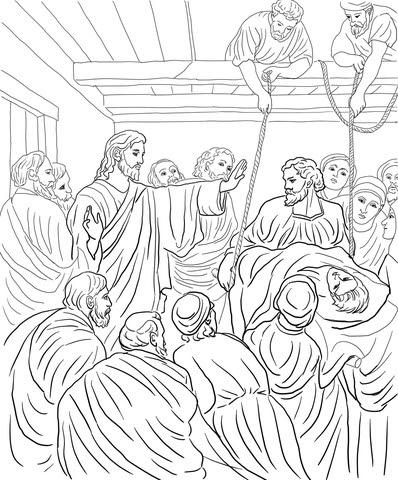Coloriage Jésus Guérit Un Homme Paralysé Coloriages à Imprimer