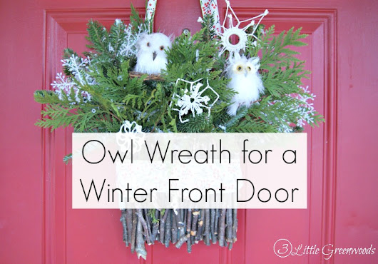 Owl Wreath for a Winter Front Door - 3 Little Greenwoods