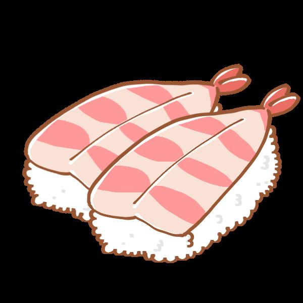 えびのお寿司のイラスト かわいいフリー素材が無料のイラストレイン