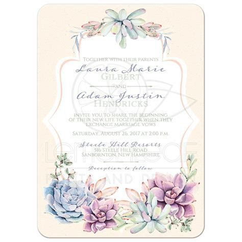 Pastel Wedding Invitation   Watercolor Succulents Garden