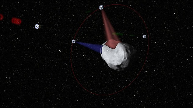 Miners wanted: A computer generated image of swarms of low-cost robotic spacecraft that will enable extraction of resources from Near-Earth asteroids