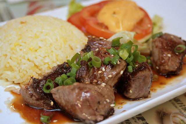 Japanese style grilled cubed beef fillet